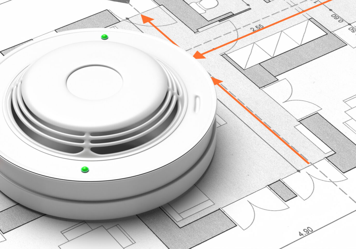Fire safety system, emergency evacuation plan. Smoke detector on blueprint drawing background. Fire alert device. 3d illustration